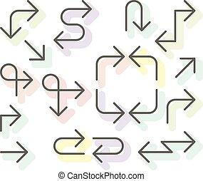 Thin arrows set - navigational simple line arrows for website or app