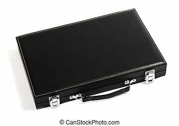 Thin black suitcase. Isolated on white background