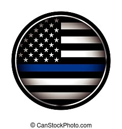 Thin Blue Line Police Support Icon Illustration