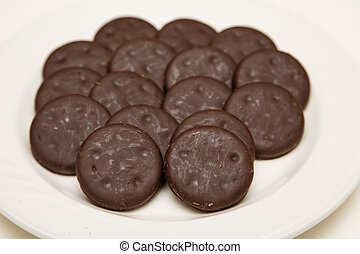Thin Chocolate and Mint Cookies