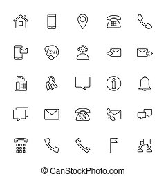 contact us icons set on white background