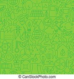 Thin Ecology Environment Line Seamless Green Pattern