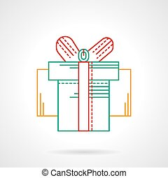 Thin flat color line gift box vector icon