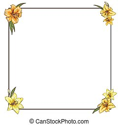 Thin frame with yellow lilies in the corners. Ready template...
