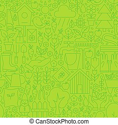 Thin Gardening Tools Line Seamless Green Pattern