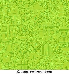 Thin Gardening Tools Line Seamless Green Pattern