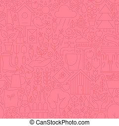 Thin Gardening Tools Line Seamless Pink Pattern