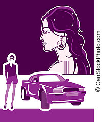 thin girl with sports car illustration vector