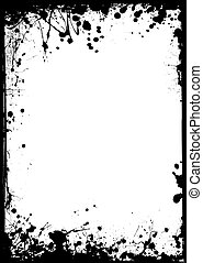 thin grunge border - Black ink border with white center and...