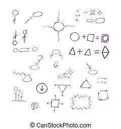 Thin hand drawn arrows, talk bubble, geometric shapes with shado