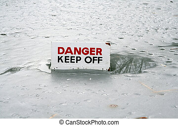thin ice danger sign