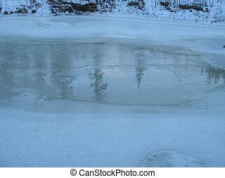 Thin Ice - Thin ice on Whitemud Creek in Edmonton, Alberta,...