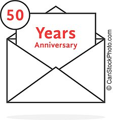 thin line 50 years anniversary logo like open letter