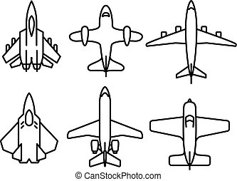 Thin line airplane icons set