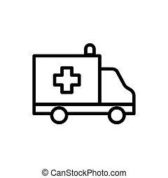 line ambulance icon on white background