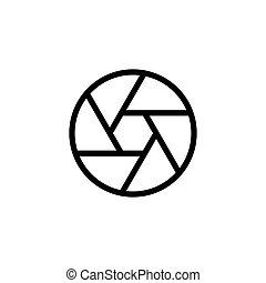 line aperture diaphragm icon on white background
