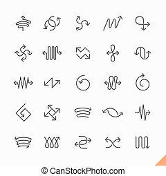 Thin line arrows icons set