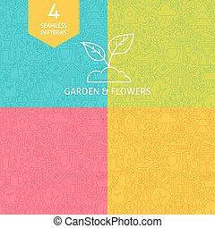 Thin Line Art Garden and Flowers Pattern Set