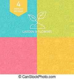 Thin Line Art Garden and Flowers Pattern Set