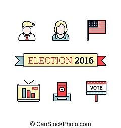 Thin line art icons set. American election 2016. US...