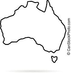 thin line australia map with shadow