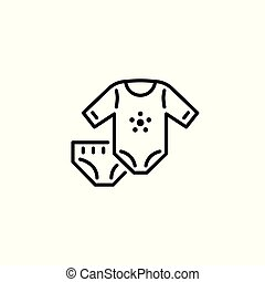 Thin line baby icons Kids clothes, garment, underwear.