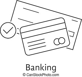 thin line bank check and credit card. concept of security,...