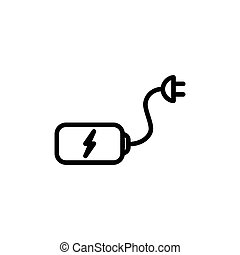 thin line battery with plug icon