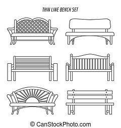 Thin line bench set