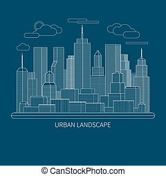 Thin line big city landscape concept illustration. Flat design abstract vector background