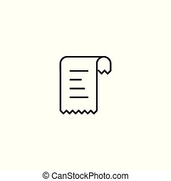line bill receipt icon on white background