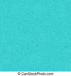 Thin Line Blue Spring and Garden Seamless Pattern