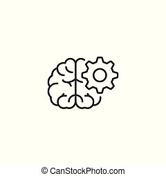 line brainstorming icon on white background