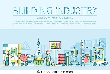 Thin line builders doing labor job and working with heavy vehicles concept.  Outline flat workers on construction site vector  design illustration
