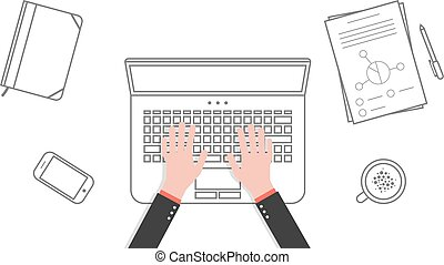 thin line business office workspace with hands