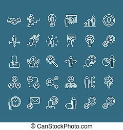 Thin line business people icons - Set of thin line people...