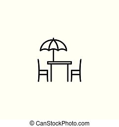 line cafe terrace icon on white background