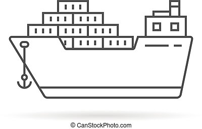 thin line cargo ship with shadow
