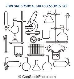 Thin line chemical lab equipment