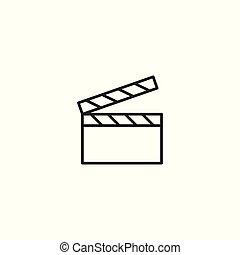 line cinema clapper icon on white background