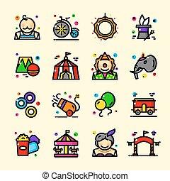 Thin line Circus icons set, vector illustration