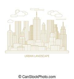 Thin line city landscape concept illustration