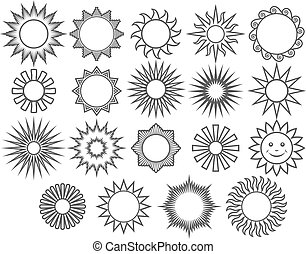 thin line collection of vector suns