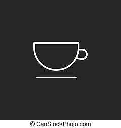 line cup icon black on dark background