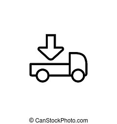 line delivery truck icon on white background