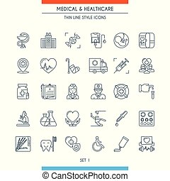 Thin line design medical icons 1