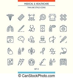 Thin line design medical icons 2