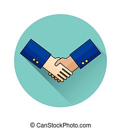 Thin line design of handshake. For web and mobile. Vector illustration.