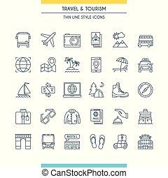 Thin line design travel icons