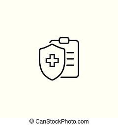 line document security icon on white background